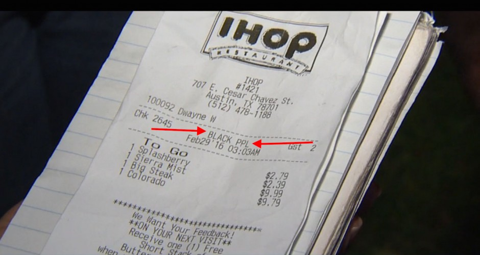 Black People on IHOP reciept