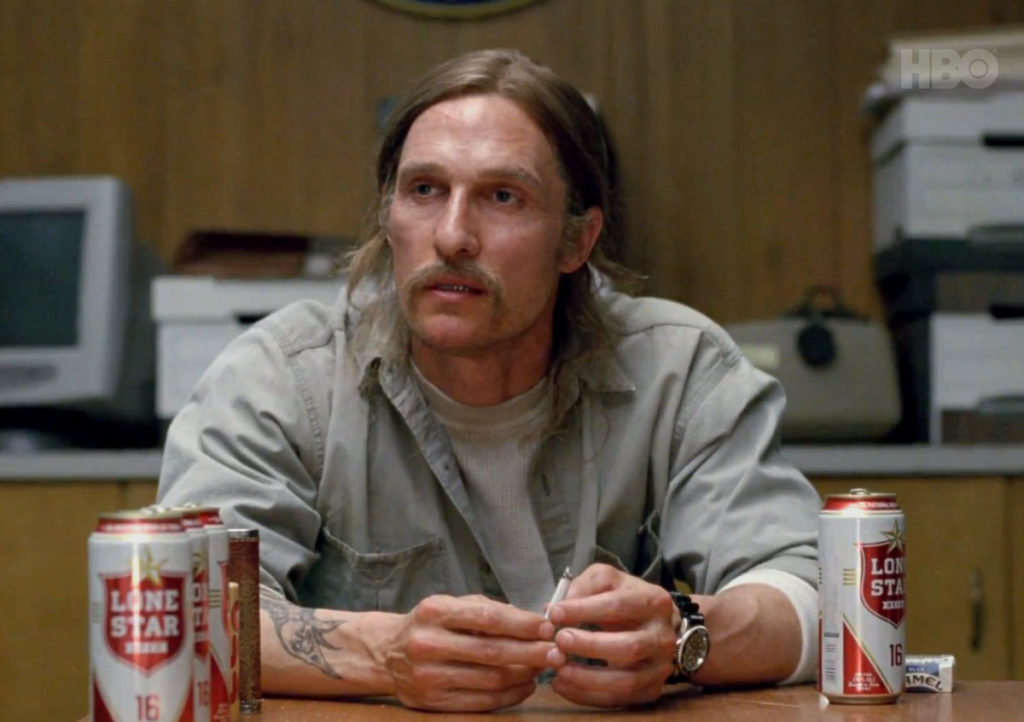 Michael Cohen Testifies before Congress, looking like Rust Cohle